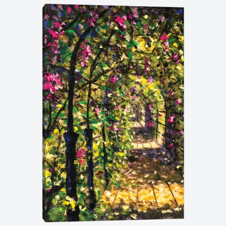 Beautiful Road Among Flowering Bushes Of Trees Sunny Painting Canvas Print #VRY606} by Valery Rybakow Art Print