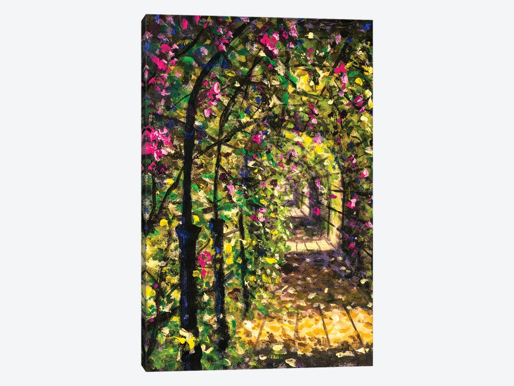 Beautiful Road Among Flowering Bushes Of Trees Sunny Painting by Valery Rybakow 1-piece Canvas Art