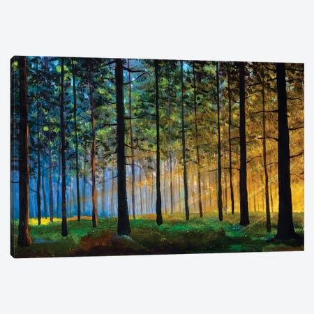 Oil Painting On Canvas Modern Impressionism Sunny Forest Landscape Canvas Print #VRY609} by Valery Rybakow Canvas Artwork
