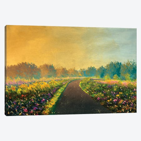 Road Through Field To Forest Rustic Summer Beautiful Magic Landscape Canvas Print #VRY610} by Valery Rybakow Canvas Print
