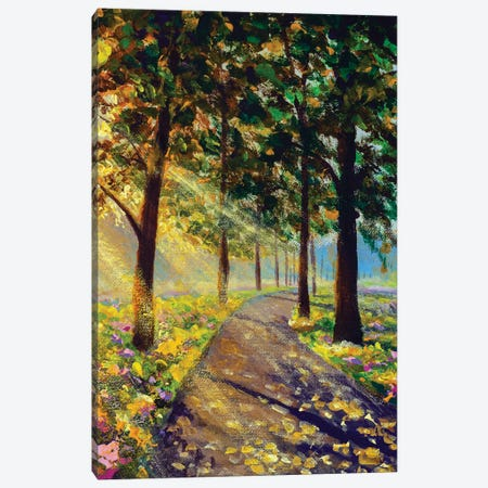 Vertical Oil Painting Spring Sunny Summer Trees In Forest Park Illustration Modern Artwork Landscape Canvas Print #VRY612} by Valery Rybakow Canvas Art Print