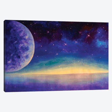 Acrylic Painting Starry Sky Big Moon Planet Earth Fine Art Canvas Print #VRY614} by Valery Rybakow Canvas Wall Art