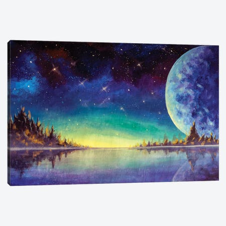 Painting Big Moon Planet Earth Starry Sky, Dawn Glow In Sea Ocean Behind Mountains Fantasy Art. Canvas Print #VRY615} by Valery Rybakow Canvas Art