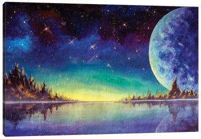 Painting Big Moon Planet Earth Starry Sky, Dawn Glow In Sea Ocean Behind Mountains Fantasy Art. Canvas Art Print