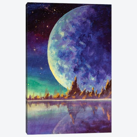 Big Moon Planet Earth Starry Sky, Dawn Glow In Sea Ocean Behind Mountains Canvas Print #VRY617} by Valery Rybakow Canvas Wall Art