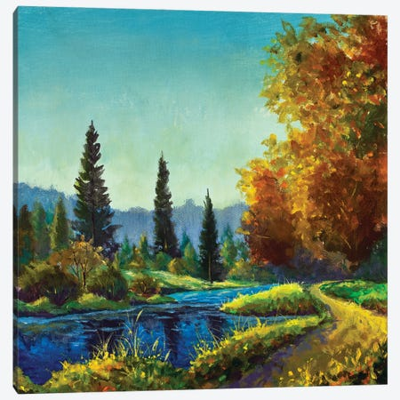 Painting Path Sunny Near Lake In Sunlight Forest Canvas Print #VRY618} by Valery Rybakow Canvas Art Print