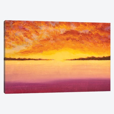 Painting Panorama Landscape Beautiful Sky At Sunset Over Pink Field Ocean Canvas Print #VRY621} by Valery Rybakow Canvas Wall Art
