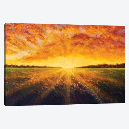 Panorama Painting Landscape Sunset Dawn Of Sun Over Field Oil Painting Canvas Print #VRY622} by Valery Rybakow Canvas Artwork