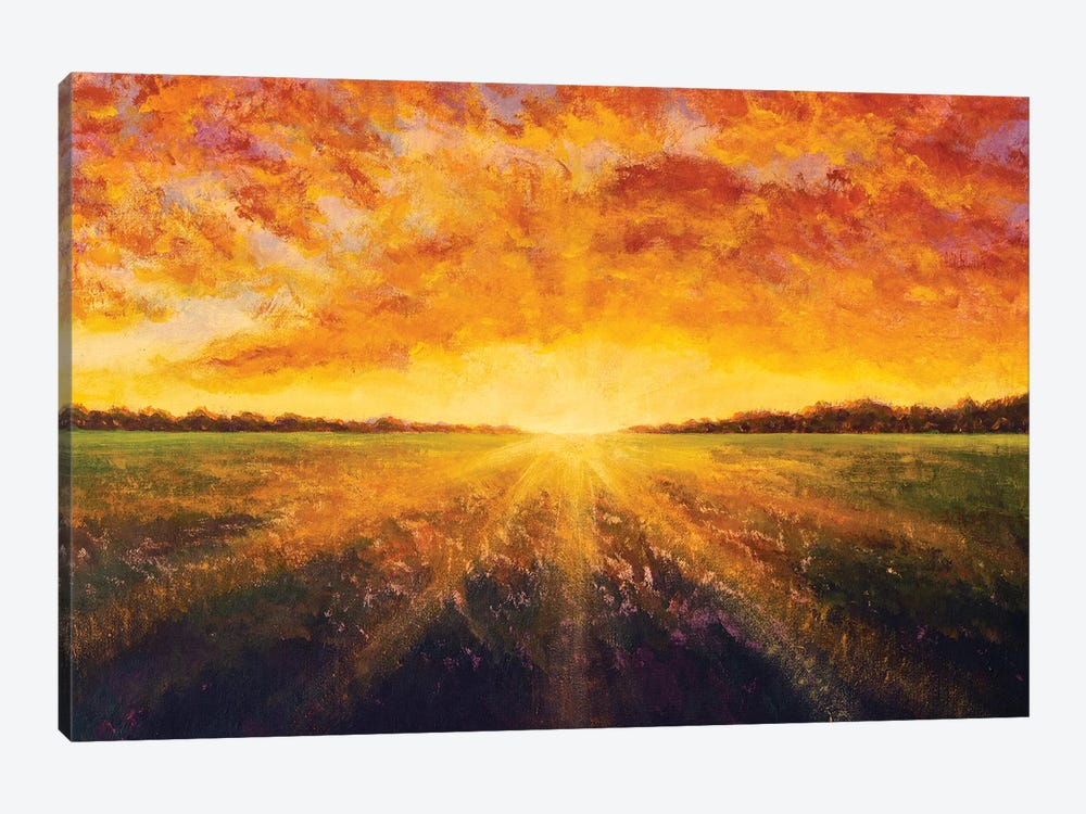 Panorama Painting Landscape Sunset Dawn Of Sun Over Field Oil Painting by Valery Rybakow 1-piece Canvas Artwork