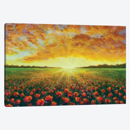 Panorama Oil Painting Of A Red Poppy Field Flower Canvas Print #VRY623} by Valery Rybakow Canvas Artwork