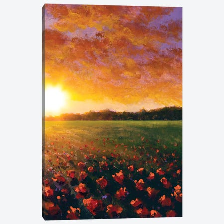 Oil Painting Of A Red Poppy Field Flower Summer Flowers Red Field Canvas Print #VRY629} by Valery Rybakow Canvas Art