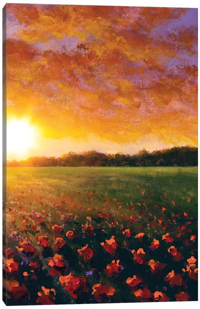 Oil Painting Of A Red Poppy Field Flower Summer Flowers Red Field Canvas Art Print