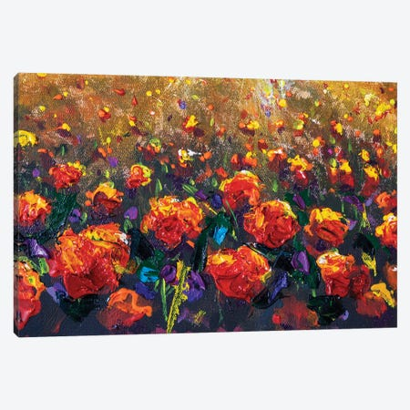 Oil Painting Of A Red Poppy Field Flowers Canvas Print #VRY630} by Valery Rybakow Art Print