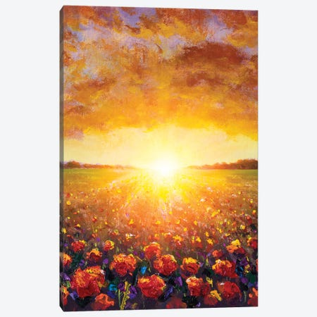 Flowers Field Red Poppies Paintings Monet Painting Claude Impressionism Paint Landscape Wildflower Canvas Print #VRY631} by Valery Rybakow Art Print