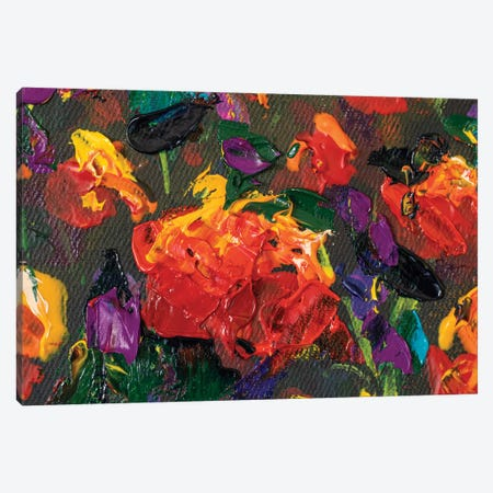 Impressionism Red Poppy Flowers Rose Peony Close-Up Oil Painting Canvas Print #VRY632} by Valery Rybakow Canvas Art Print