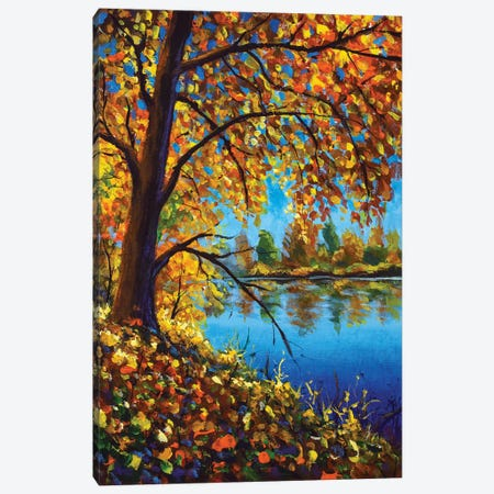 Vertical Autumn Painting Acrylic On Canvas Autumn Tree On Banks Of Blue Forest River Canvas Print #VRY635} by Valery Rybakow Canvas Art