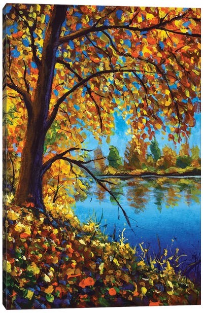 Vertical Autumn Painting Acrylic On Canvas Autumn Tree On Banks Of Blue Forest River Canvas Art Print