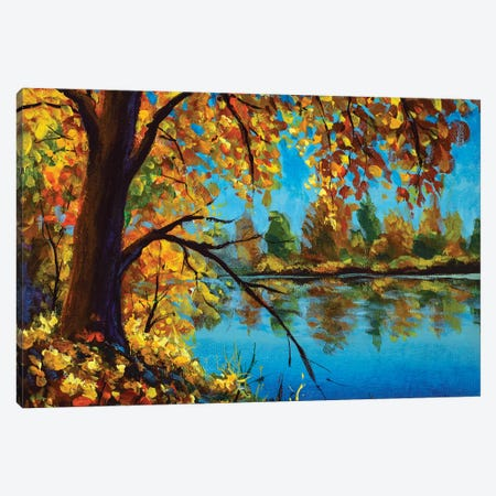 Original Oil Painting Autumn Tree On Blue River Landscape Modern Nature Artwork Canvas Print #VRY636} by Valery Rybakow Canvas Wall Art