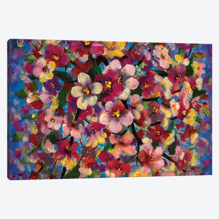 Spring Bright Multi Colored Flowers Canvas Print #VRY637} by Valery Rybakow Canvas Art