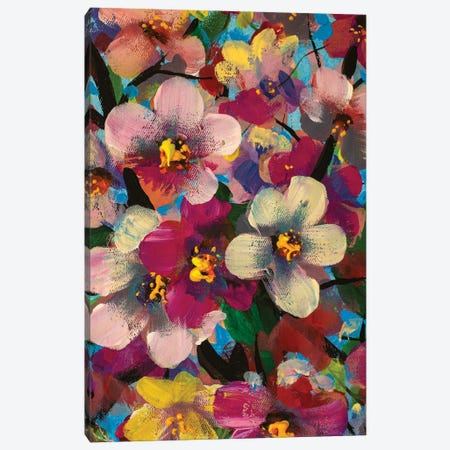 White Pink Yellow Flowers Painting Canvas Print #VRY638} by Valery Rybakow Canvas Art Print