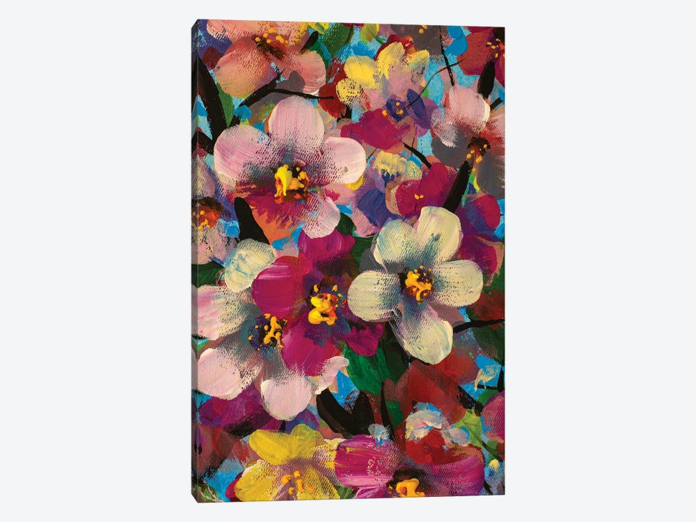 White Pink Yellow Flowers Painting by Valery Rybakow 1-piece Canvas Print