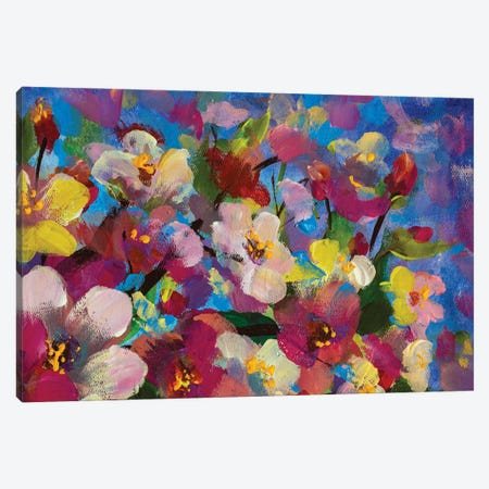 White Pink Yellow Flowers On Branch On Blue Sky Background Close Up Artwork Canvas Print #VRY640} by Valery Rybakow Canvas Artwork