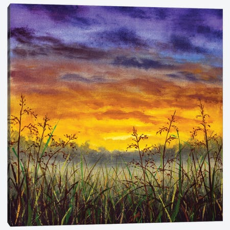 Ainting Of Grass Summer Field Against The Background Of Sky At Sunset Dawn Canvas Print #VRY645} by Valery Rybakow Canvas Art Print