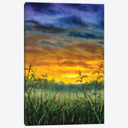 Vertical Original Rural Oil Painting Summer In Field Meadow Canvas Print #VRY647} by Valery Rybakow Canvas Print