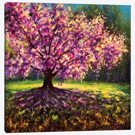 Magical Pink Flower Tree. Oil Painting Of Blooming Spring Tree. Hand Painted Canvas Print #VRY652} by Valery Rybakow Canvas Print
