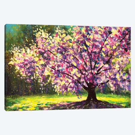 Flowering Beautiful Sakura On Spring Green Forest Background Hand Made Oil Painting Canvas Print #VRY654} by Valery Rybakow Canvas Art