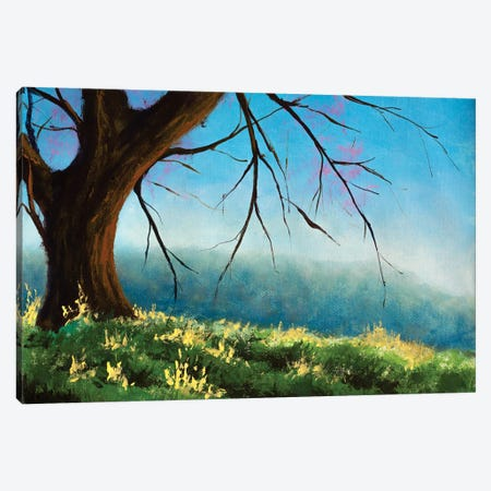 Acrylic Claude Monet Painting Big Tree On Sunny Meadow In Mountains Beautiful Landscape Oil Painting Canvas Print #VRY655} by Valery Rybakow Canvas Artwork