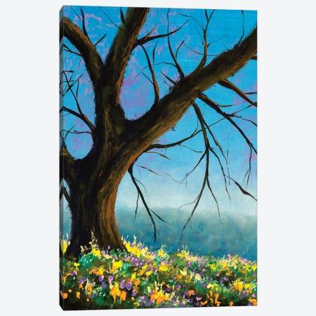Lonely Sunny Landscape Tree Without Foliage On A Background Of Blue Sky Canvas Print #VRY656} by Valery Rybakow Canvas Art