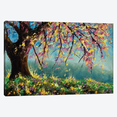Painting Blooming Sakura Cherry Tree In Meadow Of Flowers Artwork Canvas Print #VRY657} by Valery Rybakow Canvas Wall Art