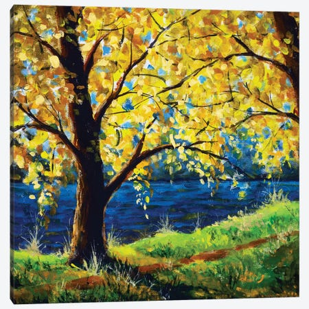 Painting Tree By River In Sun Sunlight Canvas Print #VRY659} by Valery Rybakow Art Print