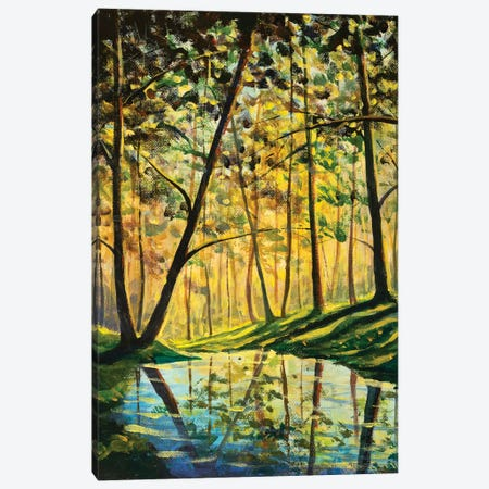 River In Sunny Forest Landscape Canvas Print #VRY662} by Valery Rybakow Canvas Art