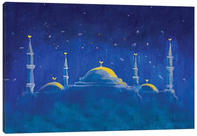 Mosque In The Blue Night Canvas Art Print