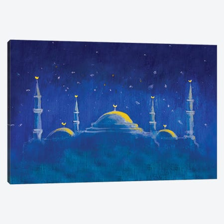 Mosque In The Blue Night Canvas Print #VRY67} by Valery Rybakow Canvas Art Print