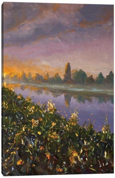 Dawn Sunset Over River Canvas Art Print