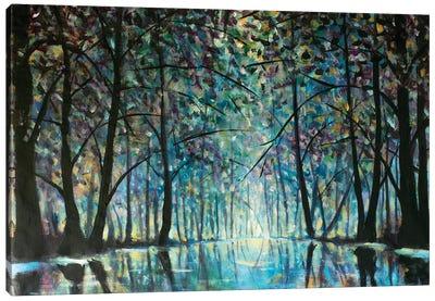 Romantic Rainy Blue Misty Forest Park Canvas Art Print