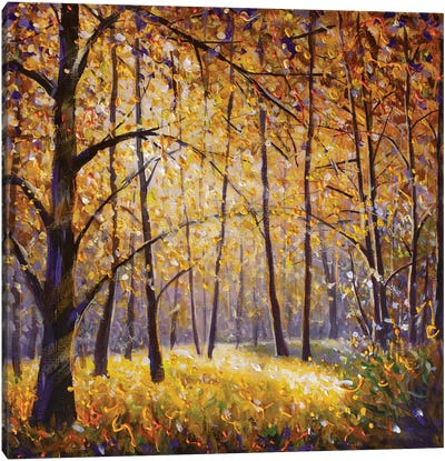 Impressionism Painting Sunny Autumn Day In Yellow Forest Canvas Art Print