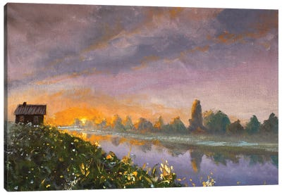 Old Rural Rustic Wooden House On River Bank At Dawn Sunset Canvas Art Print