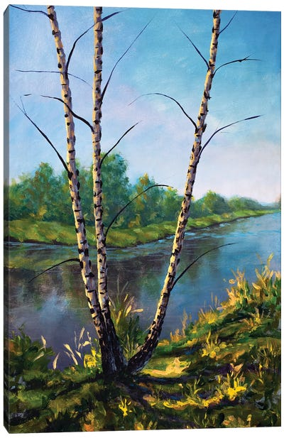 Painting Autumn Birch Trees On Sunny River Bank Canvas Art Print