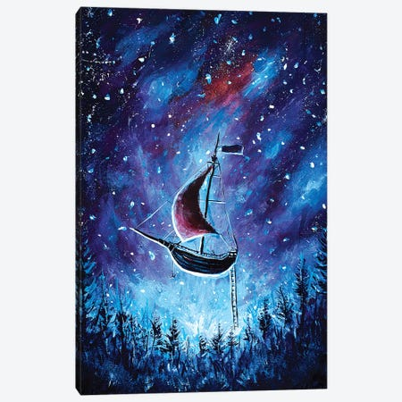 Pirate Ship In Cosmos Canvas Print #VRY74} by Valery Rybakow Canvas Art