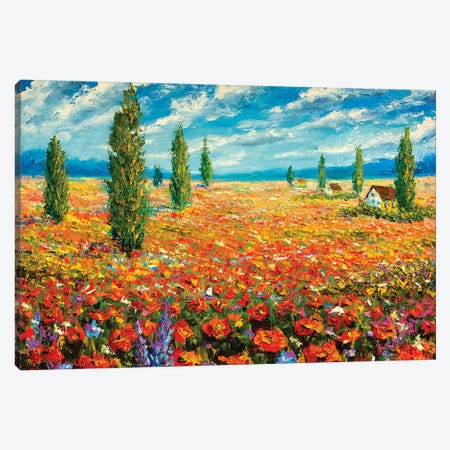 Red Flowers Dream 3-Piece Canvas #VRY75} by Valery Rybakow Canvas Artwork