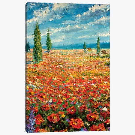 Red Flowers Landscape 3-Piece Canvas #VRY76} by Valery Rybakow Canvas Wall Art