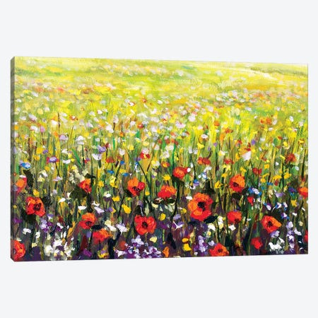 Red Poppies Flowers Field Canvas Print #VRY77} by Valery Rybakow Canvas Artwork
