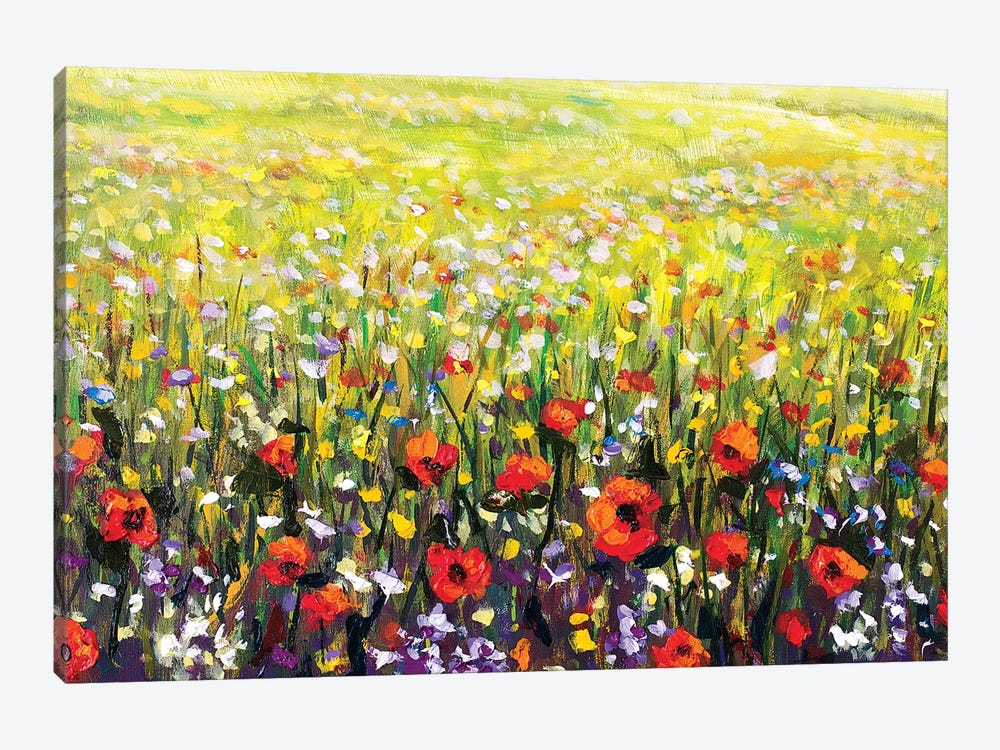 Red Poppies Flowers Field by Valery Rybakow 1-piece Canvas Artwork