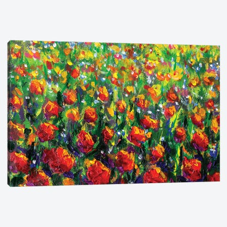 Red Rose Field Canvas Print #VRY79} by Valery Rybakow Art Print