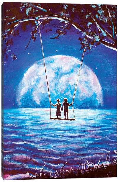 Big Moon For Lovers Canvas Art Print
