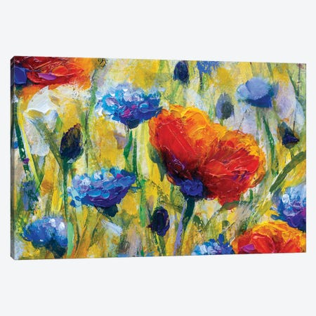 Summer Red Flower Canvas Print #VRY95} by Valery Rybakow Canvas Art